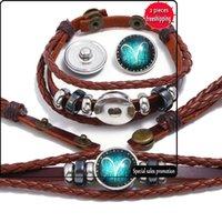 Ventes directes d'usine Bouton perlé de douze constellations Bracelet en cuir de Constellation Main Woven Main Handmade Bijoux Bx210