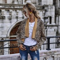 Women's Wool & Blends MOVOKAKA Autumn Winter Leopard Jacket Women Plus Size Coat Casual Turn-down Collar Temperament Long Sleeves