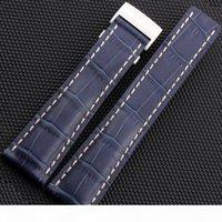 Giawawer Watchband 22mm 24mm nero Brown Blue Crocodile Lines Genuine Pelle Guardia cinturino con chiusura per 718p 732P 760P 739P 443A