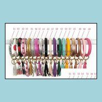 Anneaux Bijoux Brocelets Chic Chic Cuir PU Chaîne O-Ring Chaîne Colorf Circle Circle Cercle Tassel Bracelet Bracelet Keychains Girl Key Ring T287 Drop del