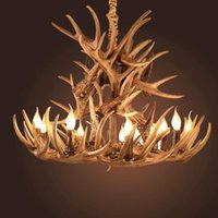 Kerze Antler Kronleuchter Beleuchtung Retro Harz Hirsch Horn Lampen Home Decoration E14 110-240V Well Packung Keine gebrochenen Kronleuchter