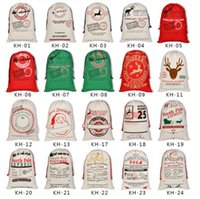 2021 sublimation Latest Styles Christmas Gift Bags wraps Large Organic Heavy Canvas-bag Santa Sack Drawstring Bag With Reindeers wrapped in binding mouth gifts