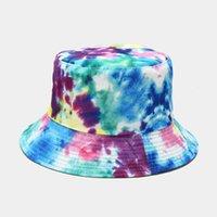 Tie-Dye 3D Impresso Padrão de Dupla Fisherman Bucket Basin Homens Mulheres Verão Outdoor Sun Hat