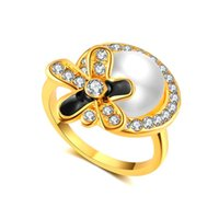 Cluster Rings Pearl Jewelry 18 K Yellow Gold Natural Round Freshwater Ring Women's Wedding Premium Gifts