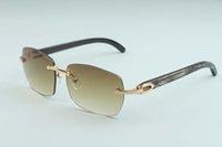 2021 Nova venda óculos fábrica A1-3524012 Óculos de sol Luxo / Simples Templo Híbrido Natural Sem Frameless Black Horn Pattern d dkmnf