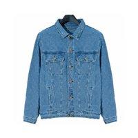 21SS Designer Marca Denim Jacket Mens Flower Impresión T SHIRTS Impreso azul Dark Jacquard Ropa Hombres y Mujeres Mangas de manga larga Abrigos de empalme