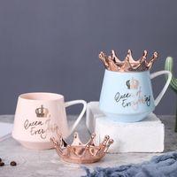 Nordic Wind Pink Crown Cup Ins Mug Spoon Coffee Creative Ceramic Water Milk for Breakfast Cups s Girl Gift Cute