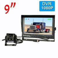 """9 """"IPS Carro Retrovisor DVR Sistema de monitor DVR + AHD 1080P 8led IR Night Vision Kit de câmera de backup reverso 4pin para trailer de caminhão de barramento RV"""
