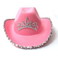 Pink Tiara Cowgirl Hat for Women Girls Wide Brim Fedora Cowboy Cap Western Style Holiday Cosplay Party Hats 210608