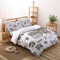 Conjuntos de ropa de cama Instrumento musical Negro Blanco Establecer conjunto Reina King Tamaño Soft Moda Edredón Funda de cama Funda de almohada
