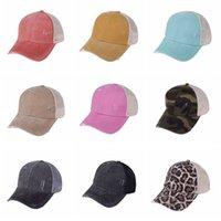 Leopard Ponytail Hüte 9 Stilsorten gewaschenes Mesh Camo Unordentlich Bun Baseballkappe Outdoor Sports Trucker Hut Cyz3153