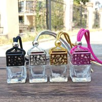 Cube Hollow Car Perfume Bottle Rearview Ornament Hanging Air Freshener For Essential Oils Diffuser Fragrance Empty Glass Pendant JJA258