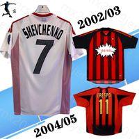 2002 2003 2004 2005 Shevchenko # 7 Milan Uzakta Gömlek Retro Futbol Formaları Kaka Rivaldo # 11 Maldini Gattuso Rui Kosta Pirlo 02 03 04 05 Ev Klasik Futbol Gömlek
