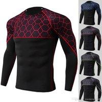 2020 al por mayor para hombre camiseta de manga larga camiseta algodón delgado ajuste gimnasios fitness culturismo entrenamiento entrenamiento crossfit ropa masculina casual moda marca camiseta