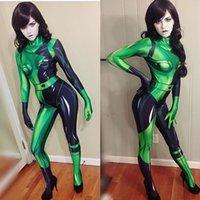3D Gedrukt Halloween Super Villain Kim Mogelijke Shego Kostuum Vrouwelijke Zentai Suit Cosplay Kostuums