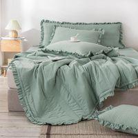 Bonenjoy 1PC أغطية السرير الملكة مبطن غطاء السرير ل فراش الأخضر المعزي الحجم كينش سيليت المفرش (لا وسادة)