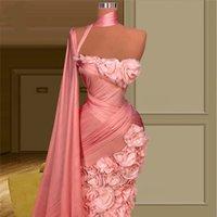 Erröten Sie rosa manche Schulter lange Abendkleider Robe de Soiree Couture 3D Blumen Celebrity Prom Kleider Dubai Party Kleider