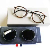 New York Brand Thom Glass Fram av solglasögon Män Kvinnor Optiacl Glass Browne TB710 Clip Solglasögon med Original Box