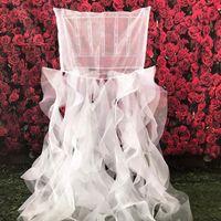 Stoelhoezen Ontwerp Mooie 100 stks / partij Cruly Ruffeule Chiavari Cap / Hood / Stoel Cover voor Bruiloft Decoratie