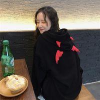 Felpe con cappuccio da donna Felpe Oloey Donne Allentato Black Hooded Pullover Harajuku Devil Hornied Hoelwear Vestiti per adolescenti