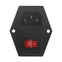 10A 250V 3 Pin IEC320 C14 AC Conector de entrada Plug Power Socket com lâmpada vermelha Tuimer Interruptor 10A Segurança Titular do soquete masculino conector