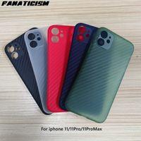 Casos de telefone fosco Anti-outono luz PP de fibra de carbono grão protetora para iphone 11 pro max 11proo iphone11