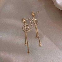 Letra G Corrente de Link Dangle Brincos Imitação Pearl Crystal Alfabeto Marca Ear Ear Bar Bar Longo Fio Brinco para Mulheres