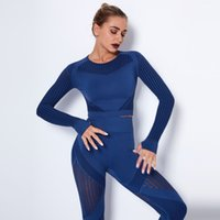 Women's Leggings Designer Seamless knitted quick-drying running yoga wear tight-fitting long sleeves Women Clothing Fitness peach hip shaping trousers suit