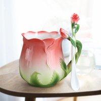 유럽 스타일 에나멜 세라믹 커피 머그컵 크리 에이 티브 3D 장미 꽃 모양 찻잔 목가적 인 4 색 아침 밀크 컵 숟가락 접시와 함께