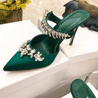 Luxury Designers Heels slippers Crystal Embellished silk shoes women sandals Evening Slingback strap sandal Dress shoe us size 4-11 9CM heel slipper