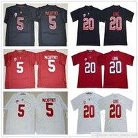 2018 2019 NCAA Stanford Cardinal # 20 Bryce Love Jersey White Red Home بعيدا مخيط رجل # 5 Christian Mccaffrey كلية الفانيلة كرة القدم