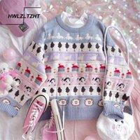 HWLZLTZHT Sonbahar Vintage Bayanlar Kazak Kalın Kazak Kış Sıcak Örgü Jumper Yumuşak Uzun Kollu Kazak Güzel Japon Üst LJ200914