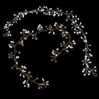 Golo اللون اللؤلؤ الكريستال عقال الزفاف الشعر كرمة تاج خوذة الماس المجوهرات زفاف اكسسوارات الزفاف مقاطع المشابك