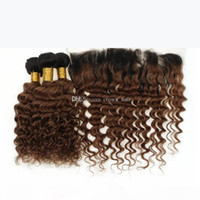Las raíces oscuras 1b 30 cabello brasileño 3bundos con encaje frontal Ombre marrón onda profunda cabello humano tejidos con cierre frontal de encaje