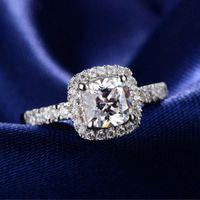 925 silver temperament square flash diamond ring opening zircon four claw wedding simulation