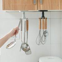 Gancho de cozinha Nenhuma parede de perfuração Pendurado utensílios de cozinha colher colher faca armazenamento gancho gancho gancho telescópico