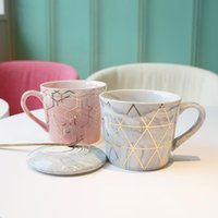 Mugs Marble Ceramic Luxury Gold Plating Geometric Lines Pink Gray Morning Milk Coffee Tea Porcelain Cup With Spoon Couple Gift