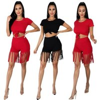 Women's Tracksuits Donsignet Women Shorts Outfits European And American Fashion Summer Solid Color Crop Top Tassel Two Piece Set