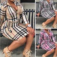 플러스 사이즈 여성용 격자 무늬 드레스 패션 클래식 의류 큰 크기 드레스 섹시한 슬림 체크 무늬 스커트 여성 유행 캐주얼 스커트 L-5XL