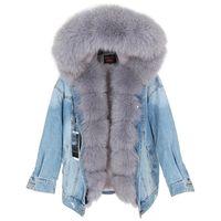 MAOMAOKONG Doğal Kürk Büyük Yaka Ceket Ceket Denim Gevşek Moda Çıkarılabilir Astar Park Deri Ceket Kadın Bezi 211018