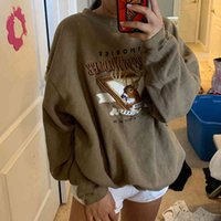 Women's Hoodies & Sweatshirts Moda feminina com capuz refletor moda , blusão feminino retrô bm, marrom, verde, tendência ins, folgado, top streetwear A61B