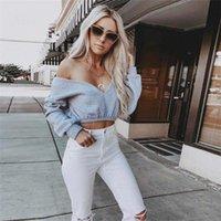 Women's Hoodies & Sweatshirts Solid Grey Sweatshirt 2021 Autumn Long Sleeve Pullover Women Casual Loose Deep V Neck Stylish Crop Top Tracksu