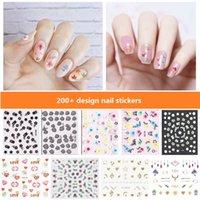 200+ Design Autocollants à ongles Fashion Finger Art Beau Mignon Auto-Adhensif amovible Facile à déchirer StickersR Imperméable Soins personnels Care Produits N001