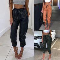 Women's Leggings 35# 2021 PU Leather Women Harem Casual Pants Elastic Faux For Autumn Streetwear Legging