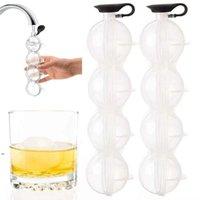 Whisky de 4 hoyos en forma esférica Cubs de hielo Herramientas Cubos de cubos Jalea haciendo molde con la cubierta fácil de liberar (transparente) DWD8451