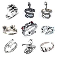 Wholesale 12pcs   Lots Punk Animal Band Rings Set Silver Plated Opening Adjustable Motorcycle Jewelry Yao