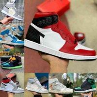 Satış 2021 Yeni 1 1 S Basketbol Ayakkabıları Erkekler Kadınlar Metalik Altın Kravat Boya OG Bio Hack Ampul Blue UNC Patent Beyaz Siyah Kraliyet Büküm Yeşil Toe Mocha Tasarımcısı