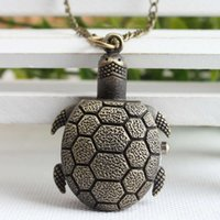 Lovely bronze tortoise girl necklace pocket coat wall built-in movement quartz watch versatile