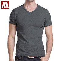 티셔츠 남성 캐주얼 짧은 소매 V 넥 티셔츠 솔리드 여름 코튼 블랙 / 그레이 / 그린 mydbsh 210319