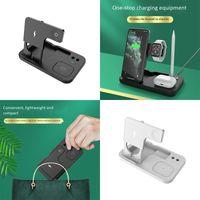 Simplicity Multifuncional 4 en 1 Cargador inalámbrico Estación de carga rápida portátil Pad Universal Dock para Qi Certified Smart Phone Earphone Lápiz Watch